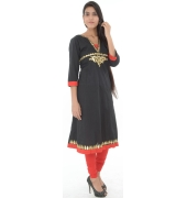 Black Cotton Anarkali Kurta