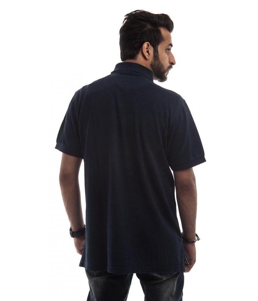 US Polo Polycotton Plain Navy Blue Below Waist Regular Fit Casual T-shirt