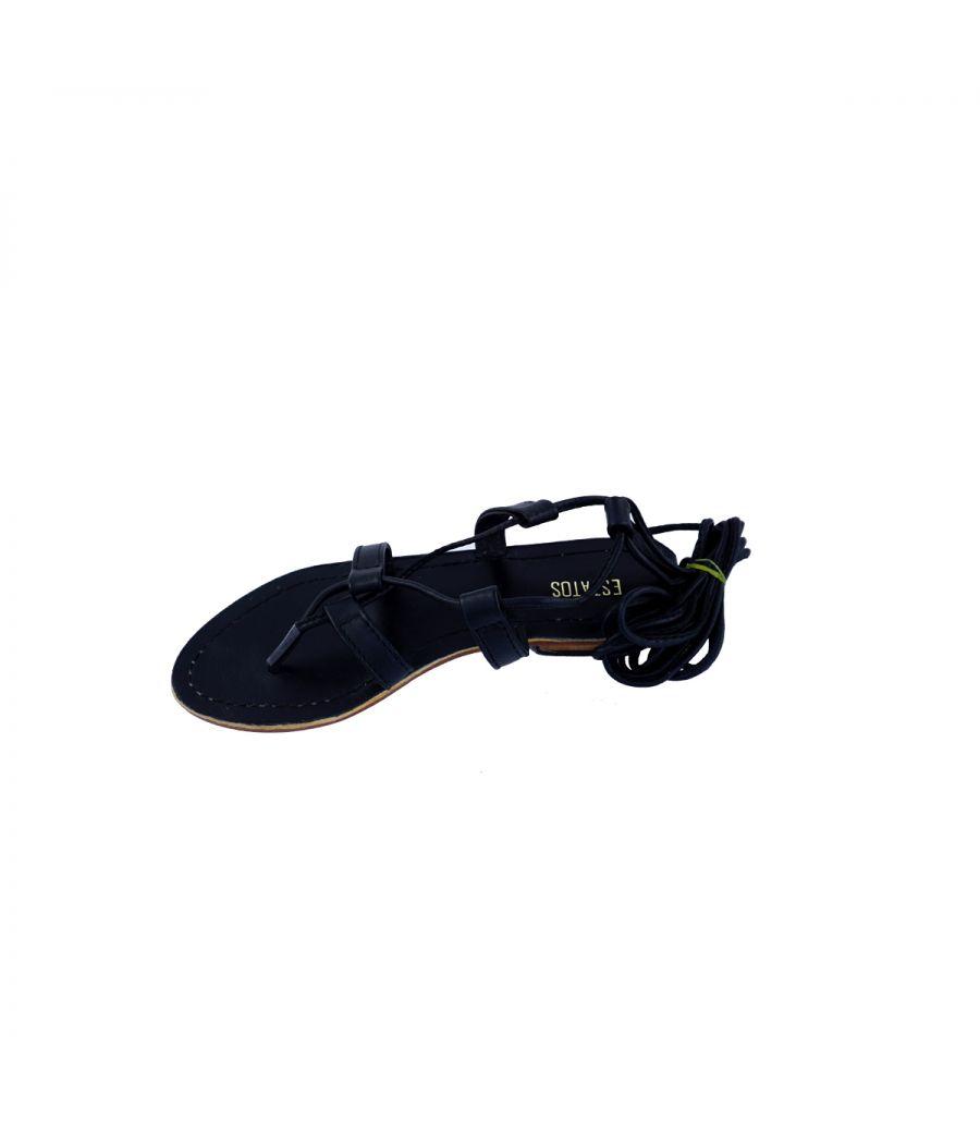 Estatos synthtic Leather Open Toe Cross Strap Buckle Closure Mesh Style Platform Heel black Sandals for Women