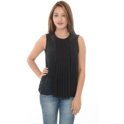 Zara Woman Sleveless Black Top With Front Pleats