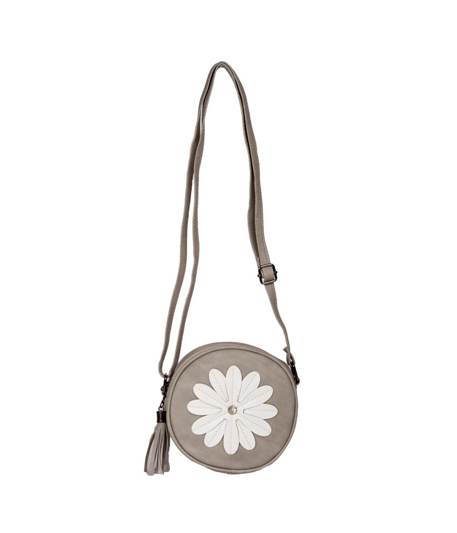 Envie Faux Leather Grey Zipper Closure Embellished Crossbody Bag