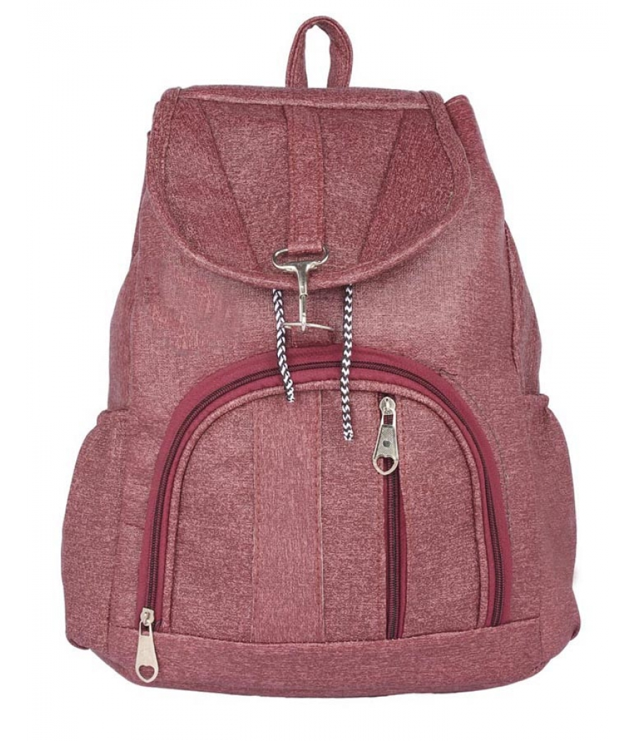 Aliado Faux Leather Magenta Colured Backpack