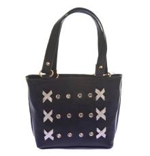 Envie Faux Leather Black Zipper Closure Embellished Tote Bag
