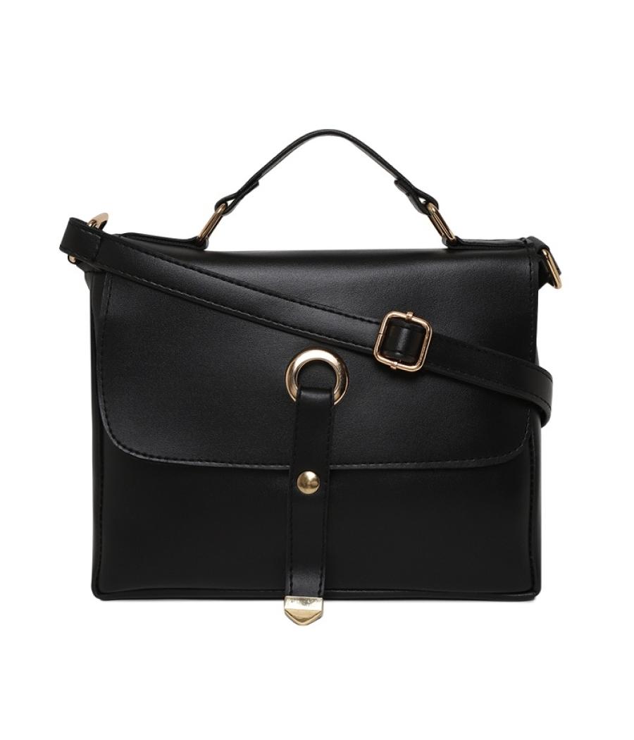 Aliado Faux Leather Black Tuck Lock Closure Sling Bag