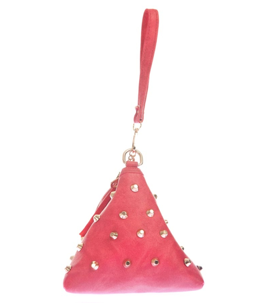 Envie Faux Leather Pink Coloured Zipper Closure Embellished Potli bag