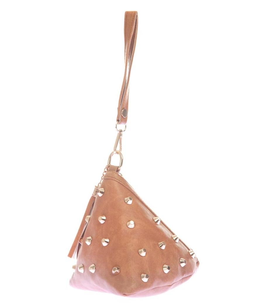 Envie Faux Leather Beige Coloured Embellished Potli Bag