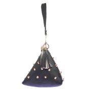 Envie Faux Leather Black Colour Embellished Potli Bag