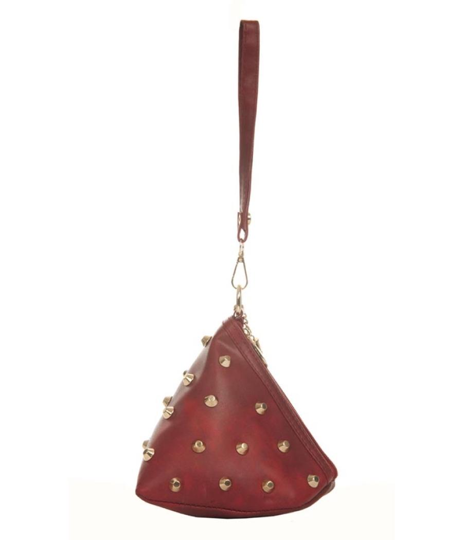 Envie Faux Leather Magenta Zipper Closure Embellished Potli Bag