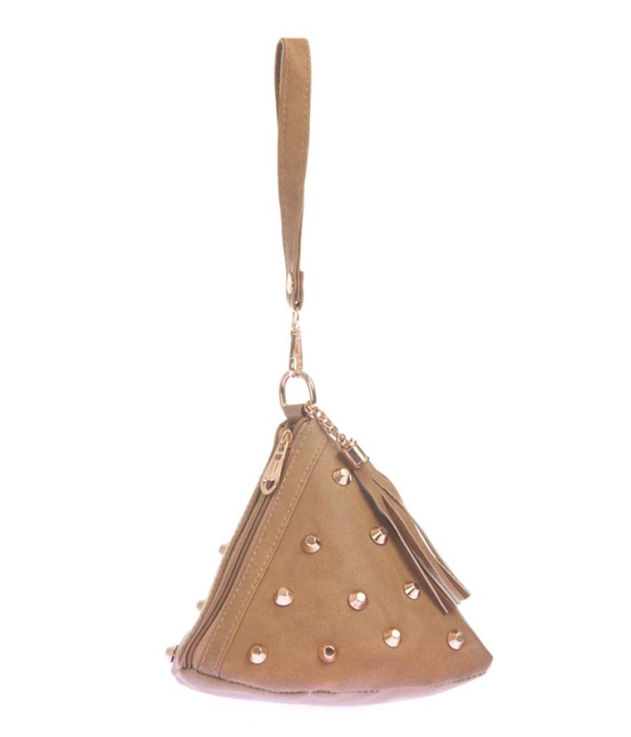 Envie Faux Leather Beige Coloured Zipper Closure Embellished Potli Bag