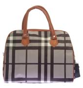 Aliado Faux Leather Printed Black & Grey Magnetic Snap Handbag
