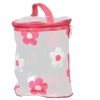 Aliado PVC transparent Cylendrical Zipper with Pink and White embroidery cosmetic bag/pouch/cover