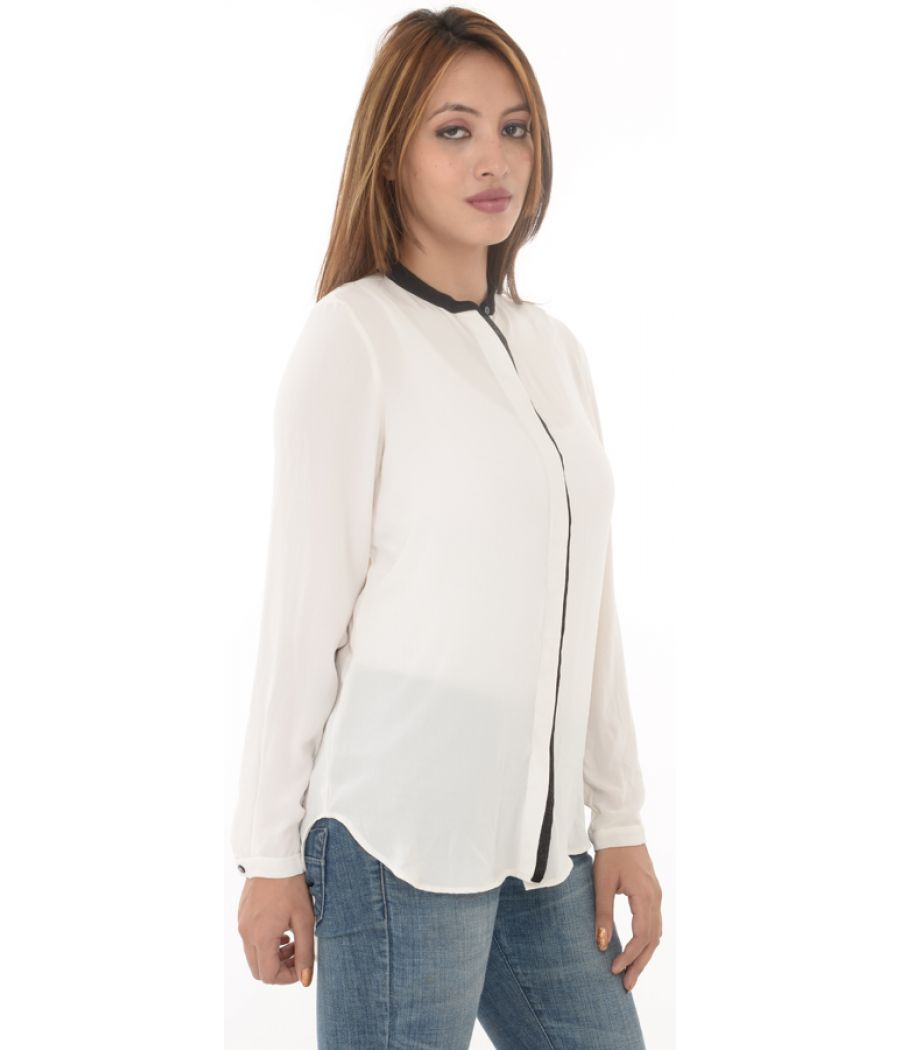 Zara Basic Cream Shirt With Front Black Concealed Button