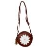 Envie Faux Leather Brown Zipper Closure Embellished Sling Bag