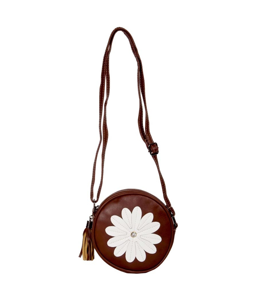 Envie Faux Leather Brown Zipper Closure Embellished Sling Bag