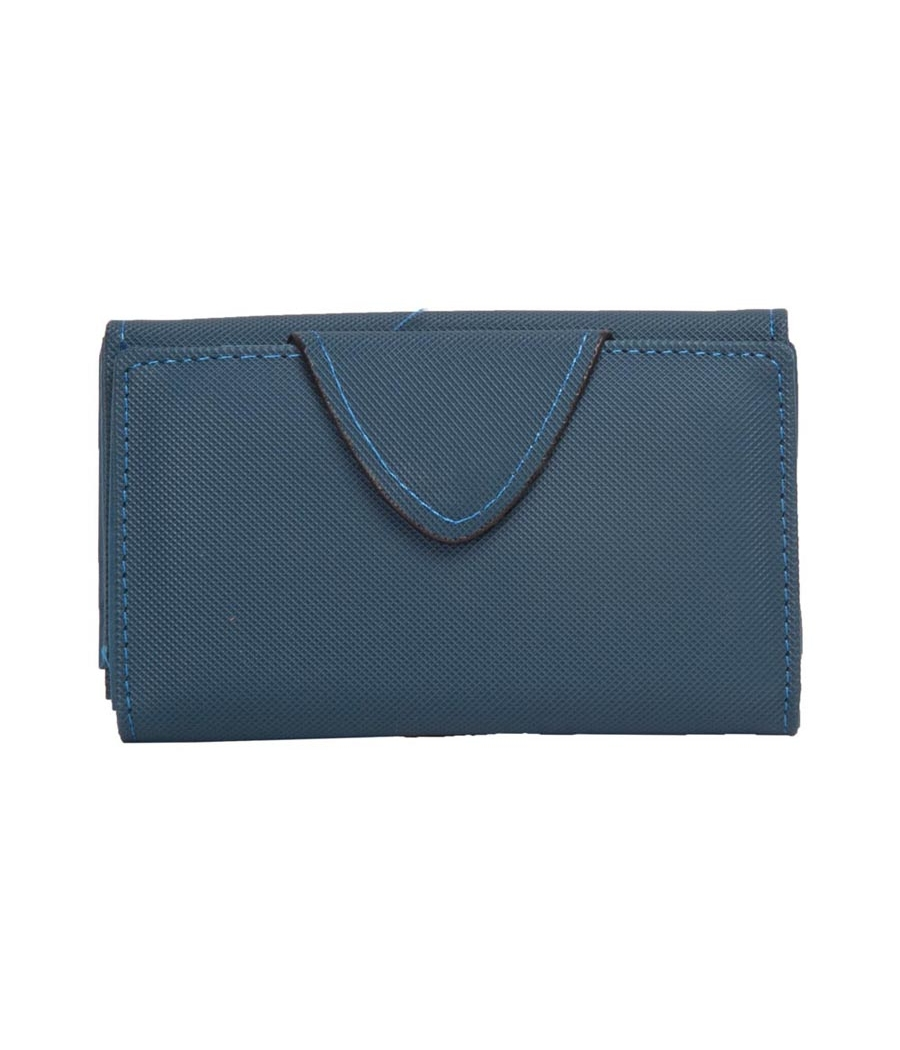 Envie Faux Leather Solid Blue Magnetic Strap Clutch for Women
