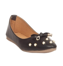 MCS Synthetic Leather Black Coloured Broad Toe Embellished Flats for Women