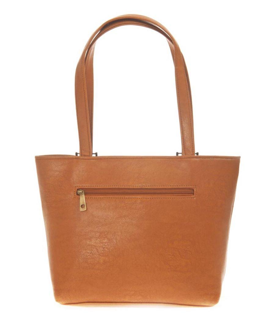 Aliado Faux Leather Solid Brown Zipper Closure Tote Bag for Women