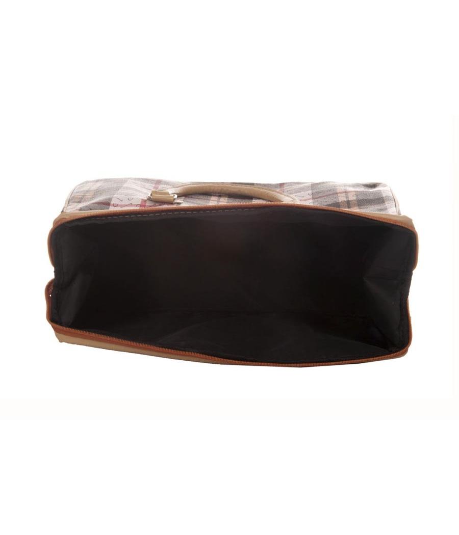 Aliado Faux Leather Printed White & Black Zipper Closure Handbag