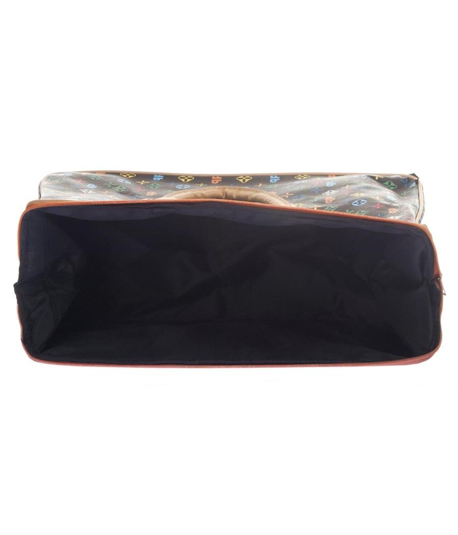 Aliado Faux Leather Black & Multi Printed Zipper Closure Handbag