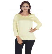 Zara Basic Silk Plain Solid Yellow Round Neck Full Sleeves Casual Top
