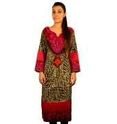 Printed Black And Pink Kurta