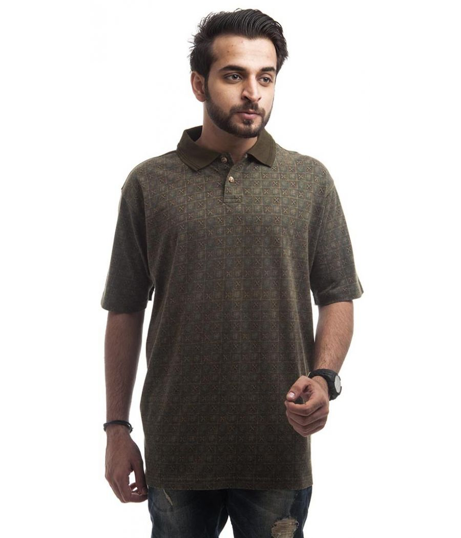 Marks & Spencer Polycotton Green Plain Printed Regular Fit Casual T-shirt
