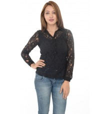 Zara Basic Black Lace Collared Top