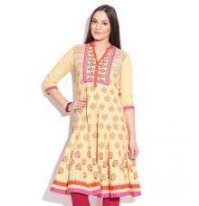 Rangriti Traditional Print Flared Cotton Yellow/Multi Kurti