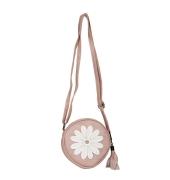 Envie Faux Leather Embellished Peach Coloured Zipper Closure Sling Bag