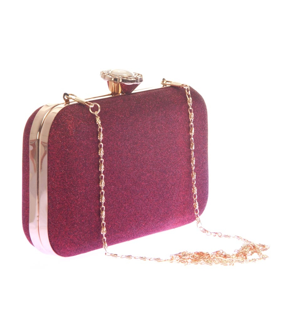 Aliado Faux Leather Maroon Twist Lock Minaudiere Style Sequined Clutch