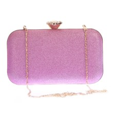 Aliado Faux Leather Pink Coloured Twist Lock Minaudiere Style Clutch