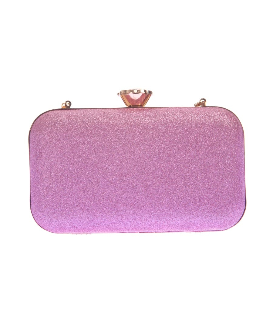 Aliado Faux Leather Pink Coloured Twist Lock Minaudiere Style Clutch