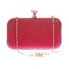 Aliado Faux Leather Red Coloured Twist Lock Quilted Minaudiere Style Clutch