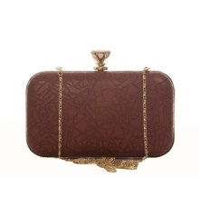 Aliado Faux Leather Brown Coloured Magnetic Snap Croc Pattern Clutch
