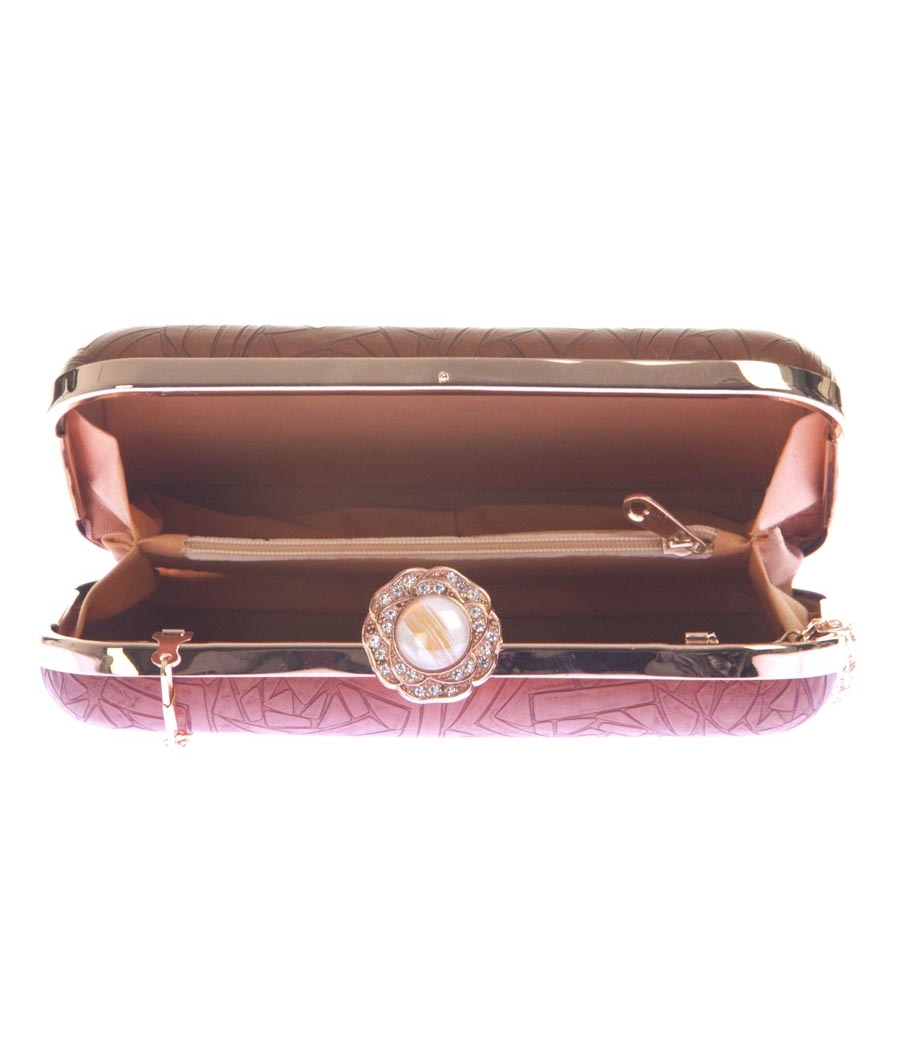 Aliado Faux Leather Coffee Brown Magnetic Snap Cros Pattern Clutch