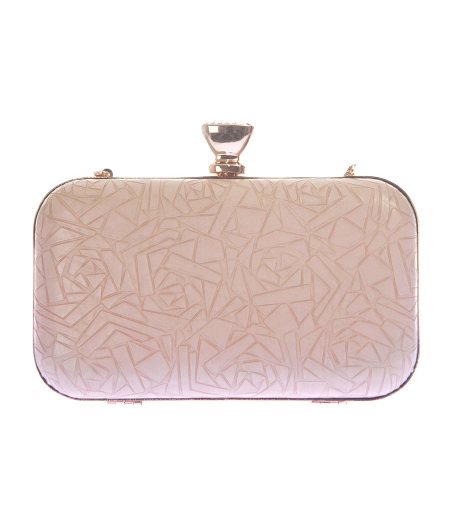 Aliado Faux  Leather Cream Coloured Magnetic Snap Minaudiere Style Clutch
