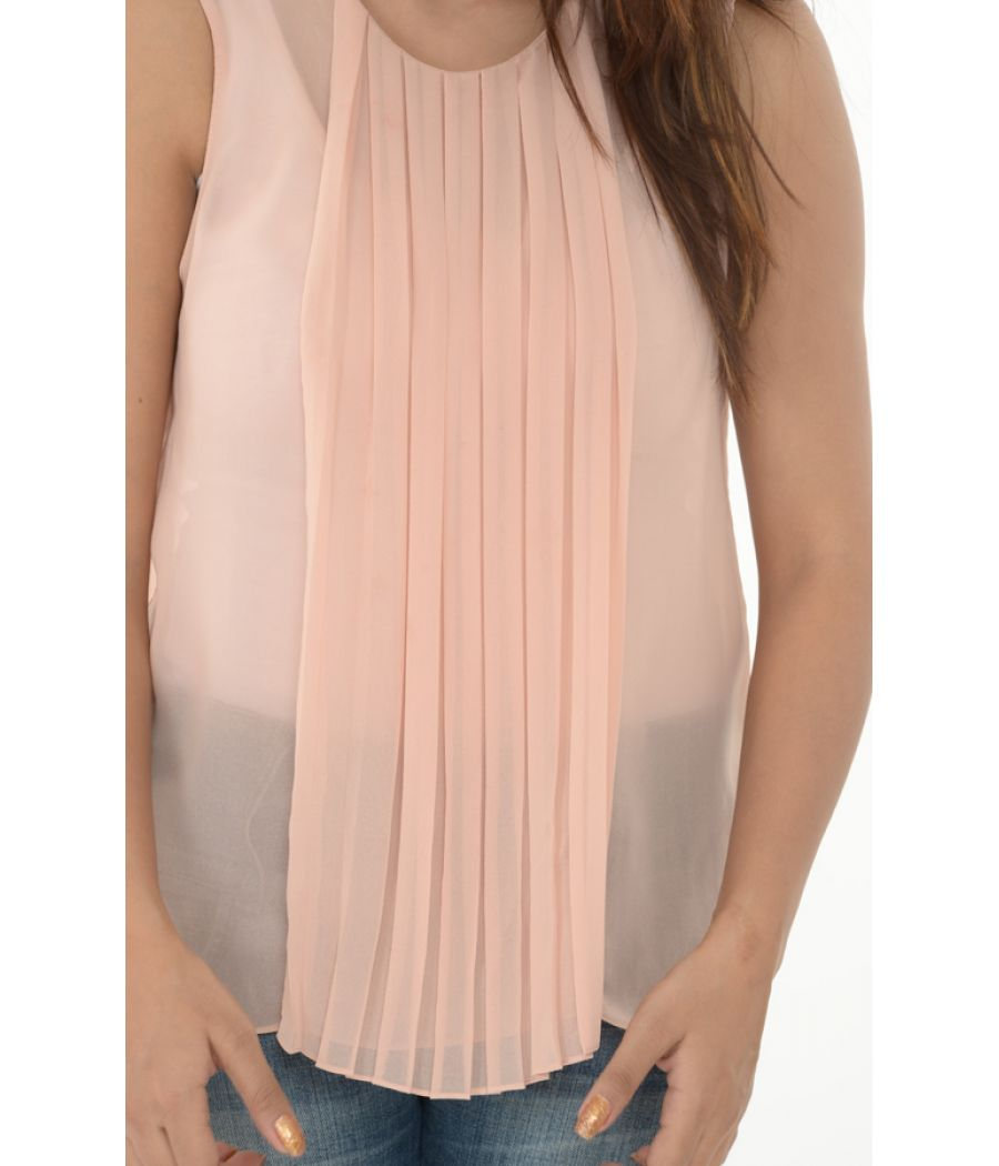Zara Woman Peach Sleevelss Top With Front Pleats