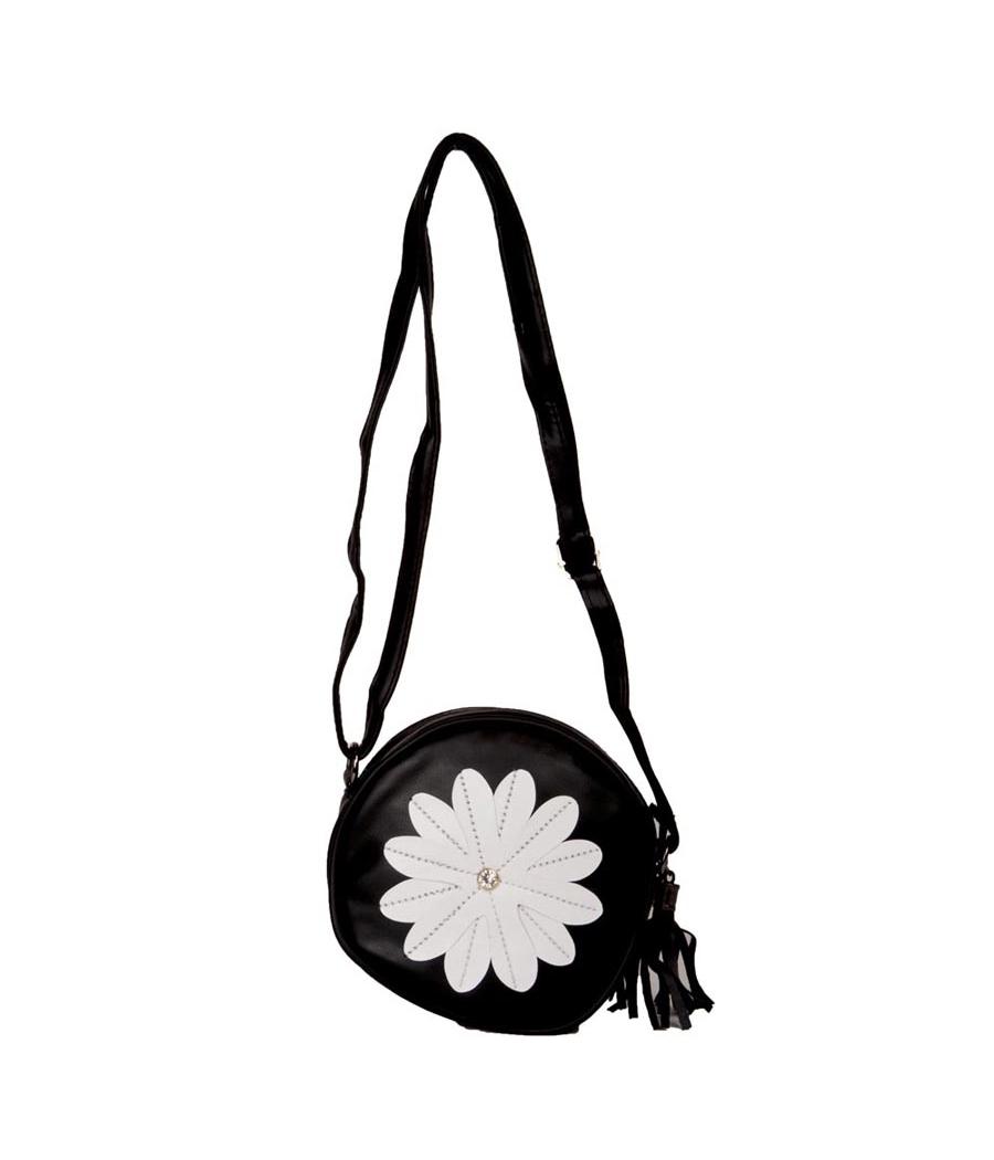 Envie Faux Leather Embellished Black Coloured Zipper Closure Sling Bag