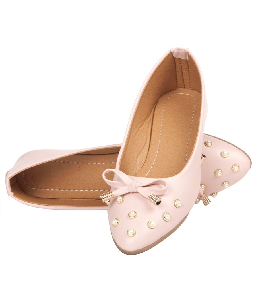MCS Synthetic Leather Pink Coloured Broad Toe Flats for Women