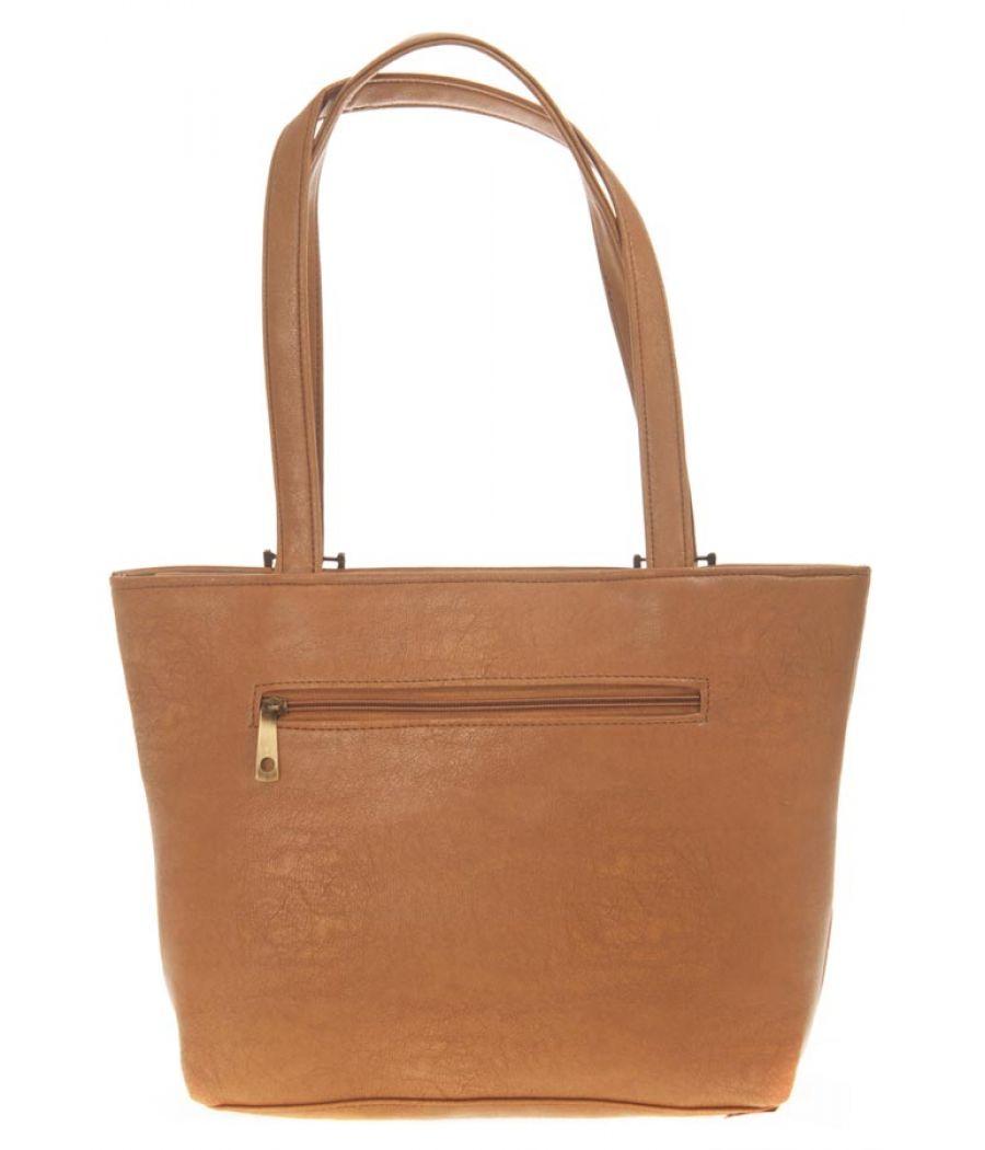 Aliado Faux Leather Solid Brown Coloured Zipper Closure Tote Bag for Women