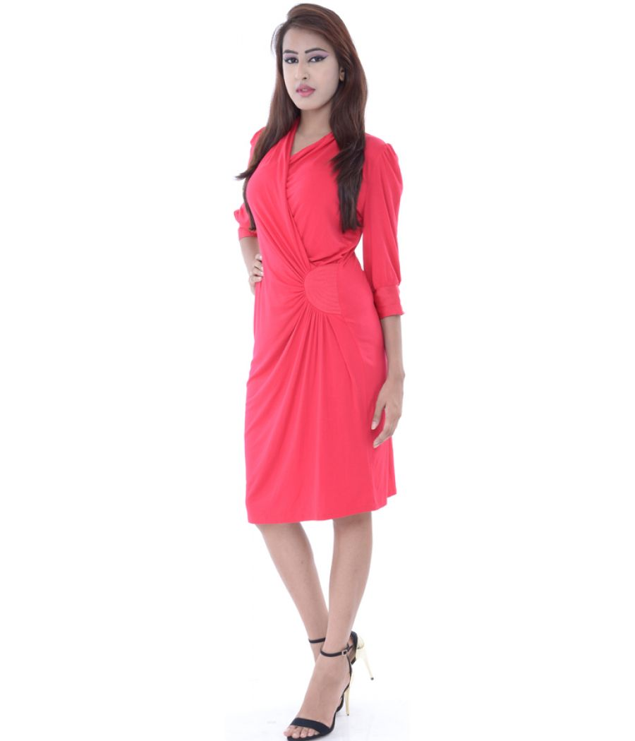 Ghost Red Wrap Neck Midi Dress
