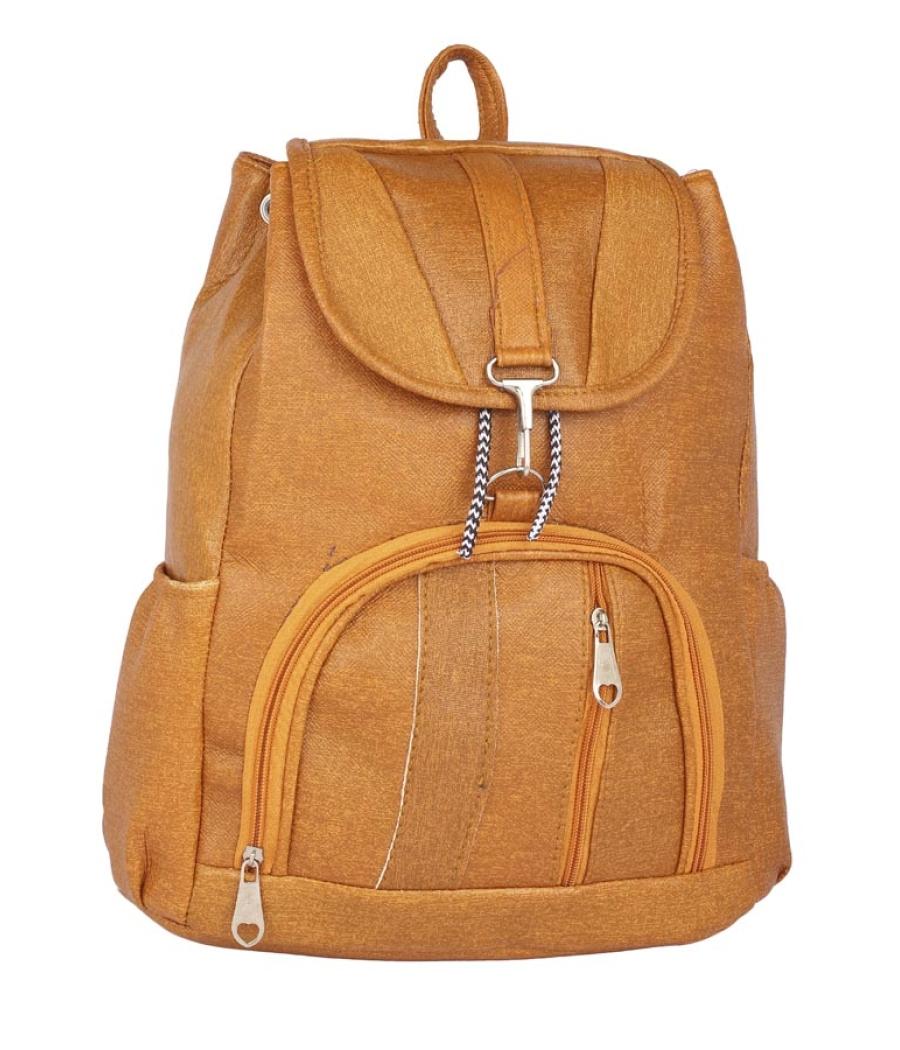 Aliado Faux Leather Mustard Coloured  Backpack