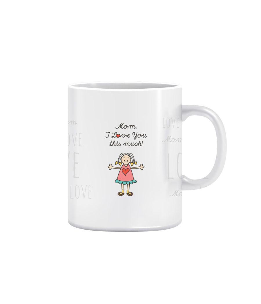 Joy N Fun - LOVE YOU       MOM - Printed Coffee Mug, 320ml, White