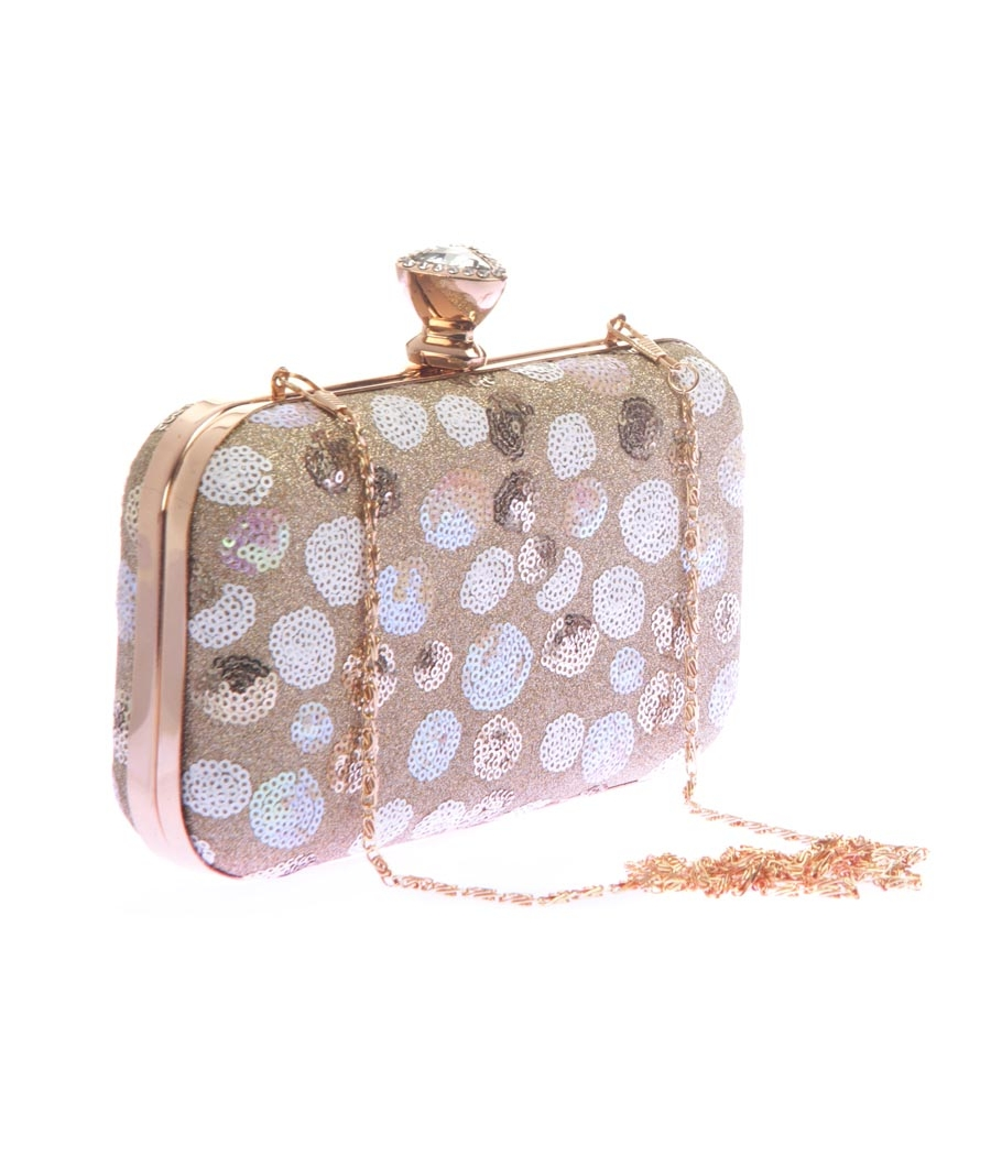 Aliado Faux Leather Gold & White Magnetic Snap Sequined Clutch