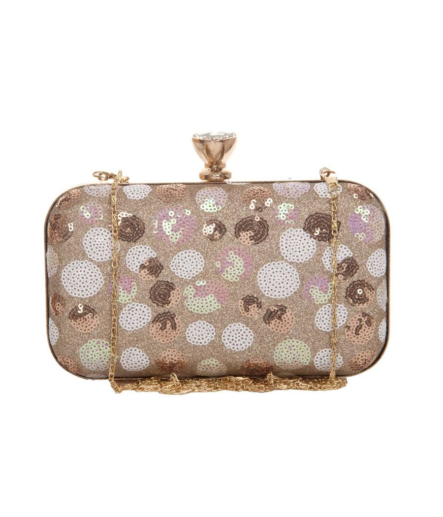 Aliado Faux Leather White & Tan Magnetic Snap Sequined Clutch