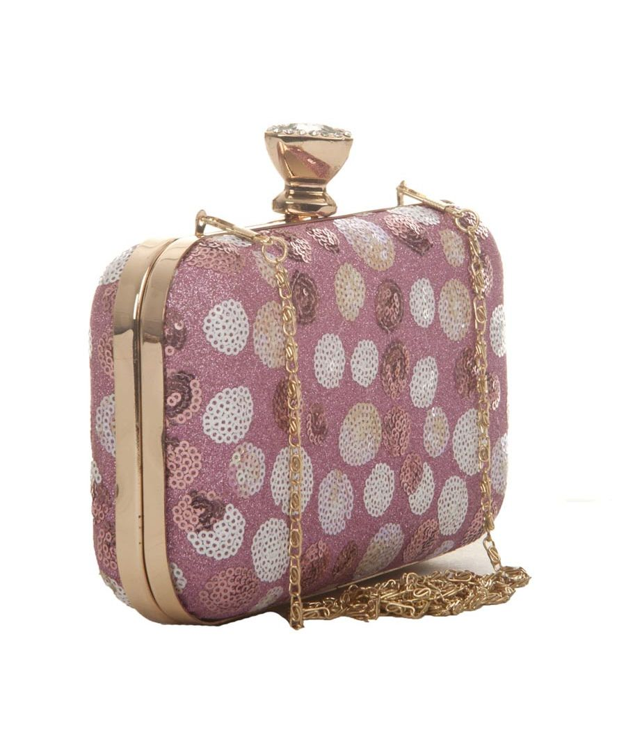 Aliado Faux Leather Pink & White Printed Magnetic Snap Closure Clutch