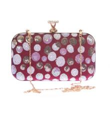 Aliado Faux Leather Magenta & White Magnetic Snap Sequined Clutch