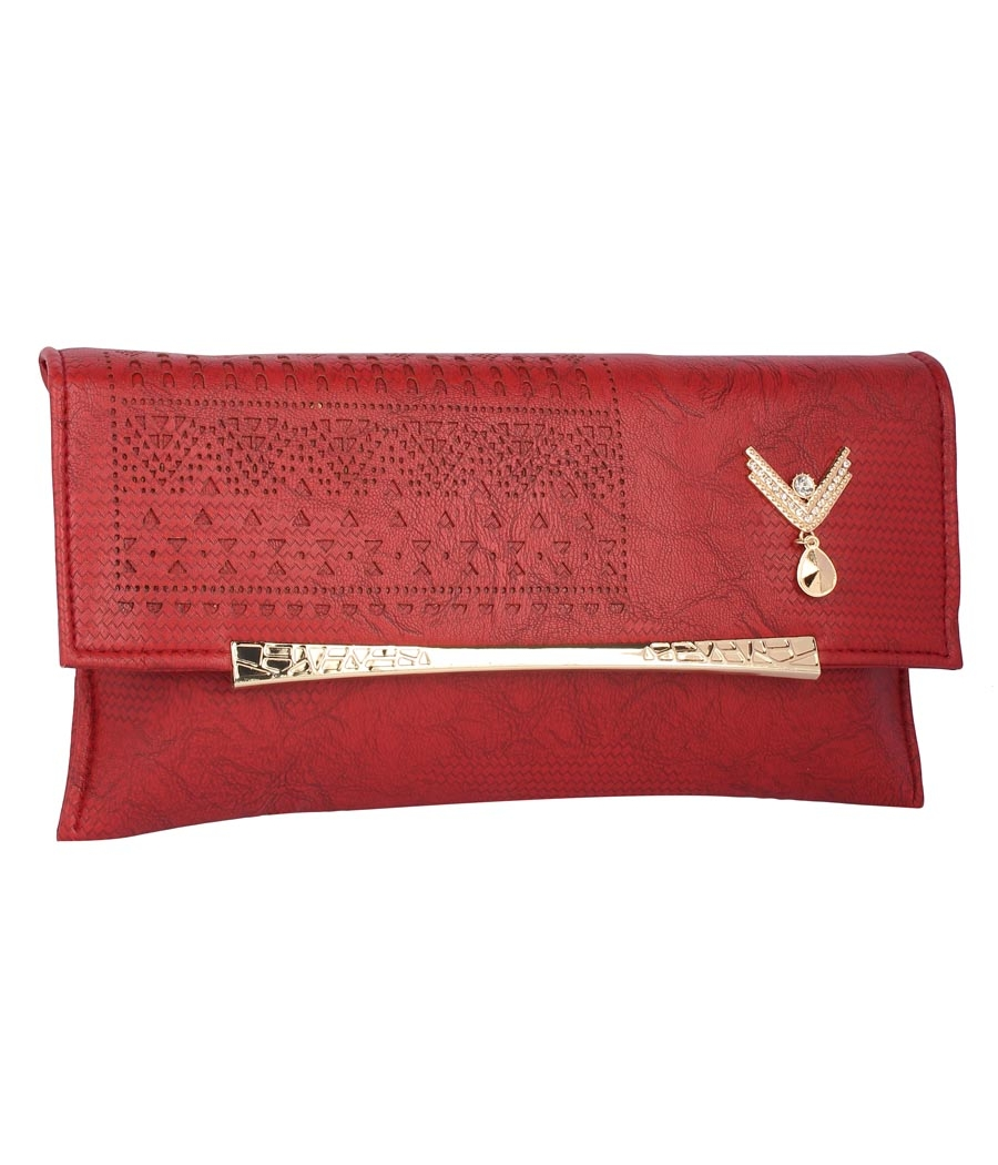 Envie Faux Leather Embellished Maroon Magnetic Snap  Closure Crossbody Bag