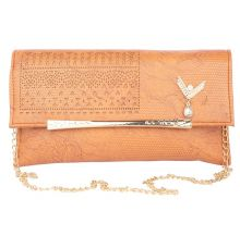 Envie Faux Leather Cream Embellished Brown Snap Crossbody Bag