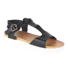 Estatos Faux Leather Open Toe T Strap Buckle Closure White Platform Heel Black Sandals for Women